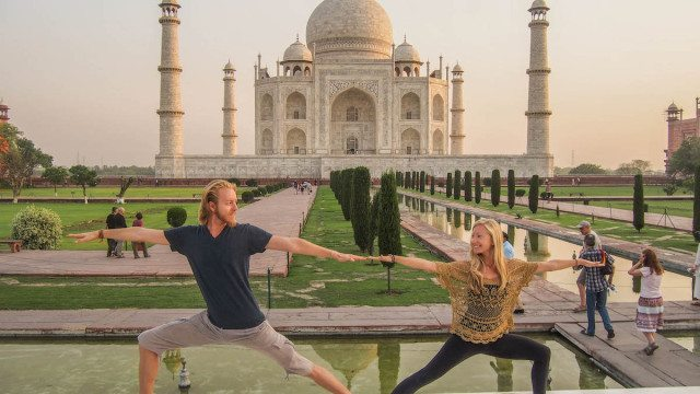 yoga at the taj mahal in India