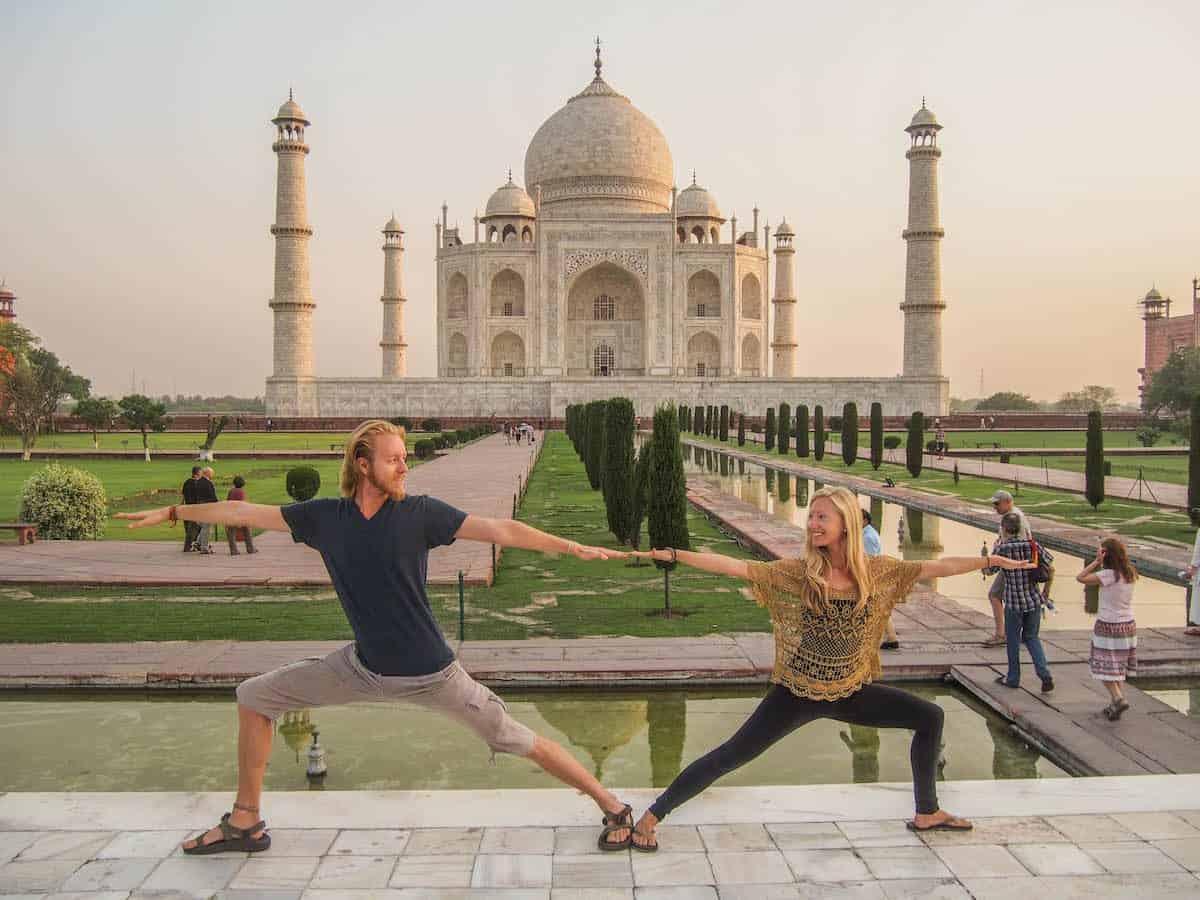 yoga at the taj mahal in India