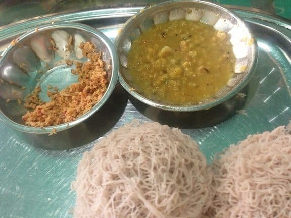 String Hoppers (bottom) + Dhal and Coconut Sambal