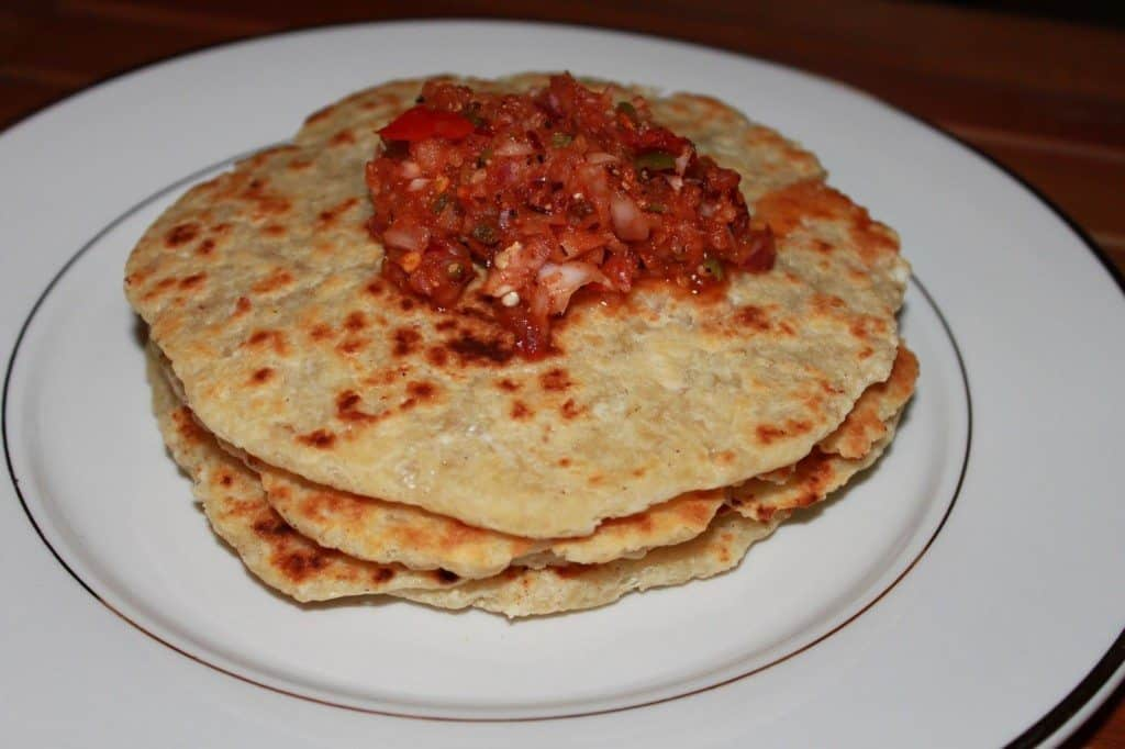 Coconut Roti with Chilly Sauce
