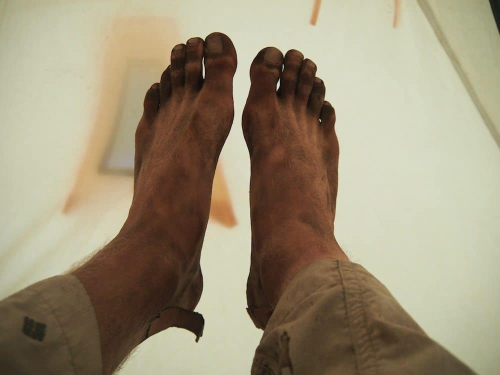 dirty feet from climbing mt rinjani