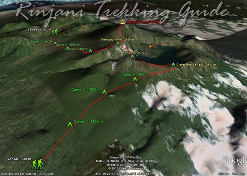mt rinjani trekking map