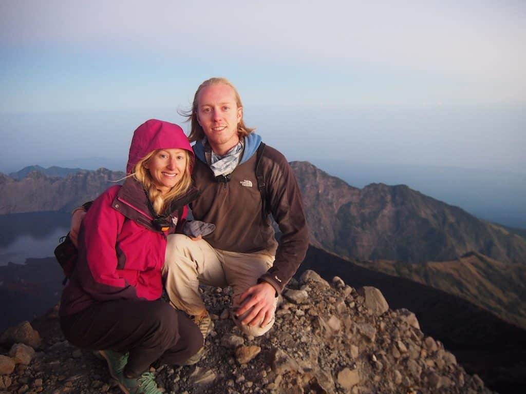 Summit of Mt Rinjani at sunrise