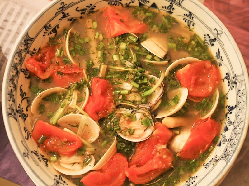 Clams with a tamarind dill broth