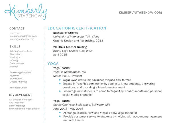 yoga teacher resume samples