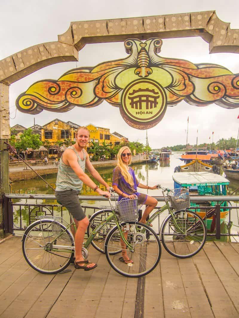 Hoi-An-Vietnam-bike-rental-bridge-old-town