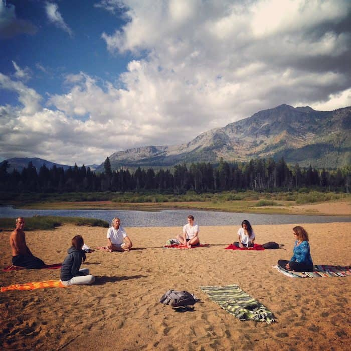 yoga in tahoe - beach and mountains