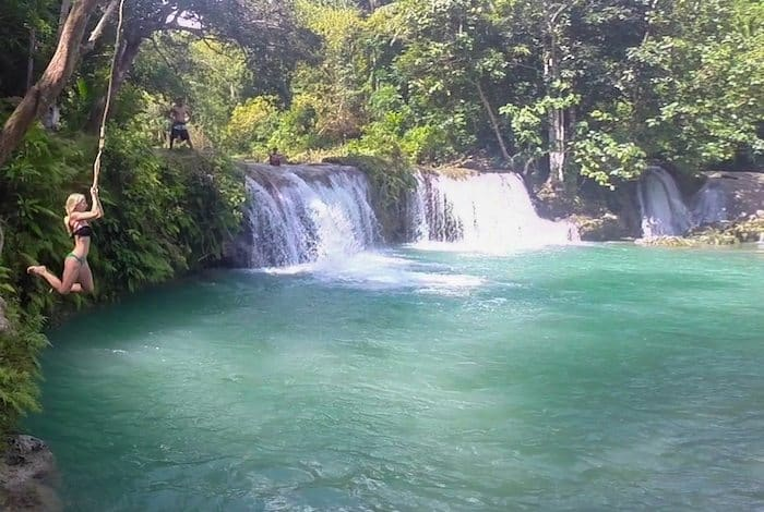 Might as well rinse off in the fresh waterfall. Siquijor, Philippines