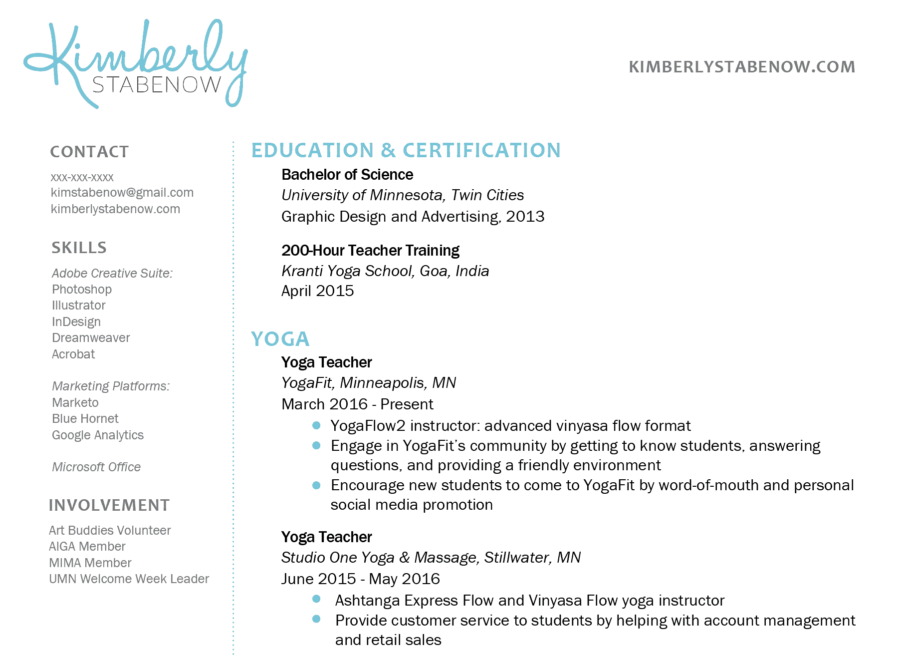 heres an example from my own resume yoga teacher resume example