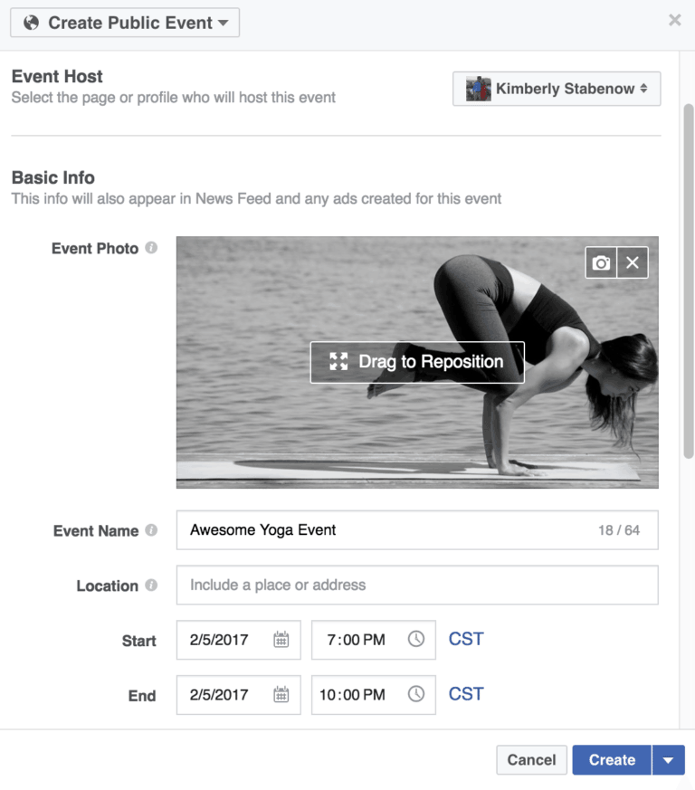 Create a Facebook Event